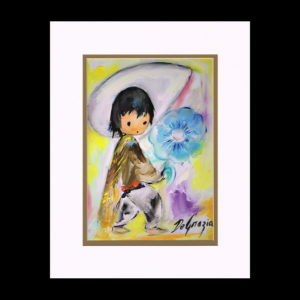 DeGrazia 11x14 Matte Print - boy-with-blue-flower-1972